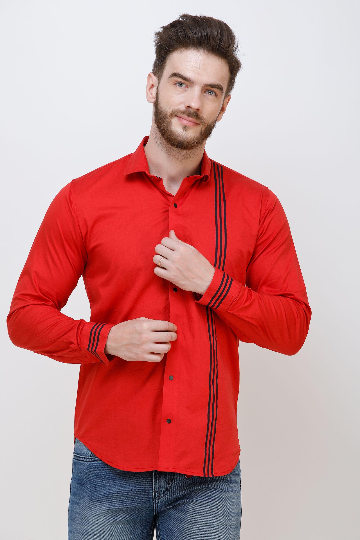 Colvyn Harris Cotton Blend Red Prints Shirt