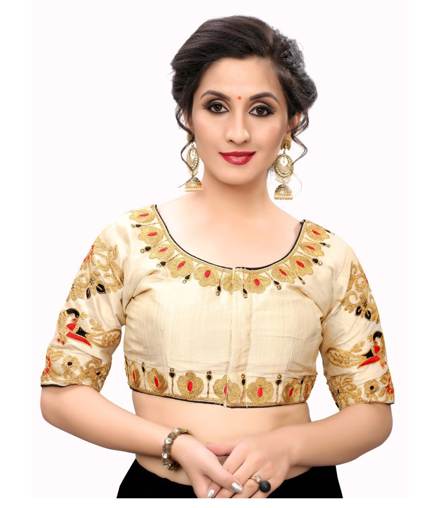 Fab Dadu Off White Silk Readymade with Pad Blouse