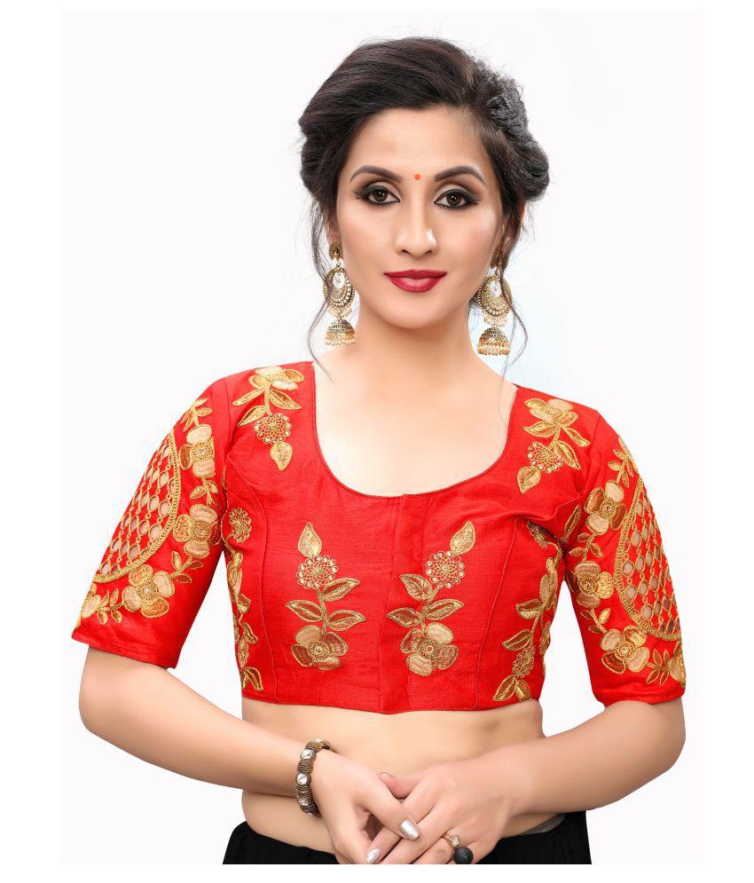 Fab Dadu Red Silk Readymade with Pad Blouse