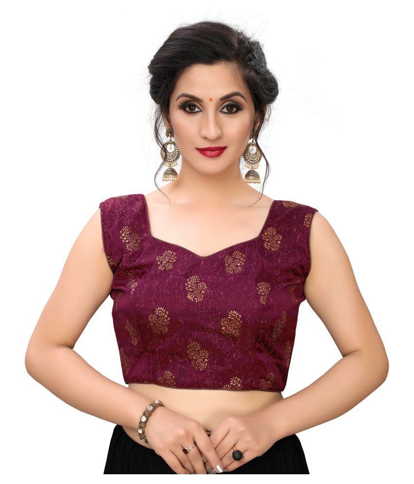 Shubh Sanidhya Purple Silk Readymade with Pad Blouse