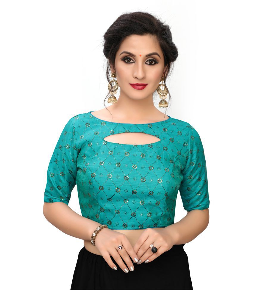 Shubh Sanidhya Turquoise Silk Readymade with Pad Blouse