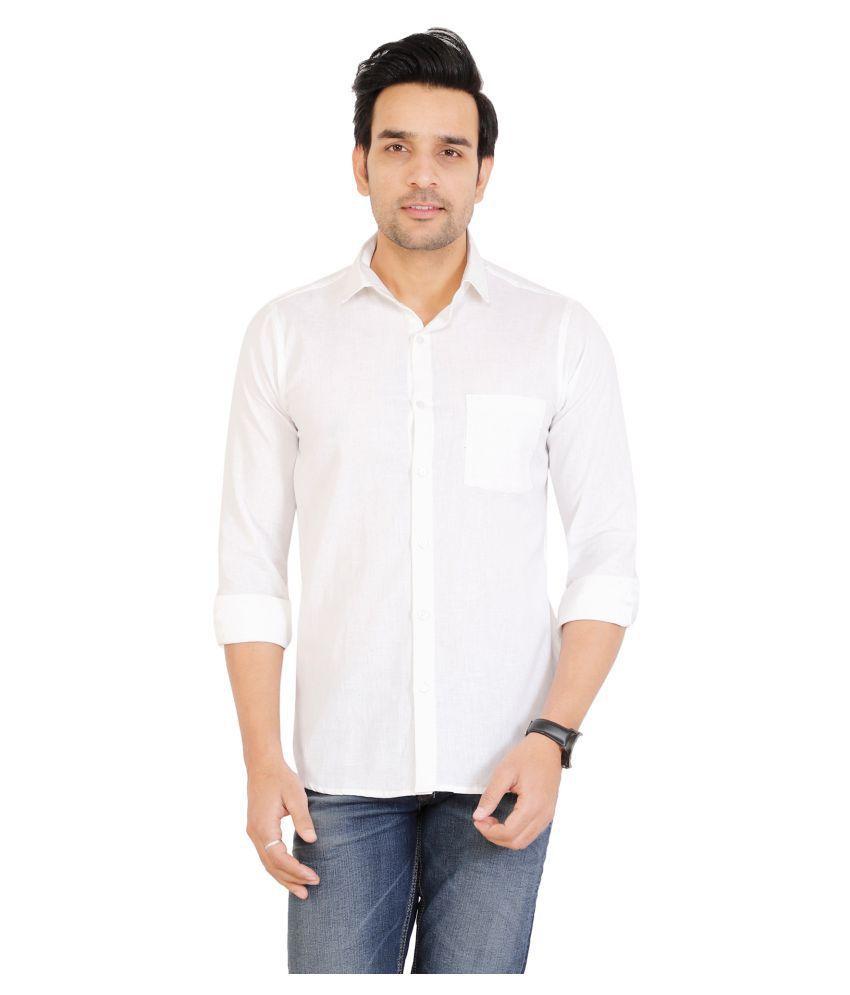U.V.A. Fashions Cotton Blend White Solids Formal Shirt