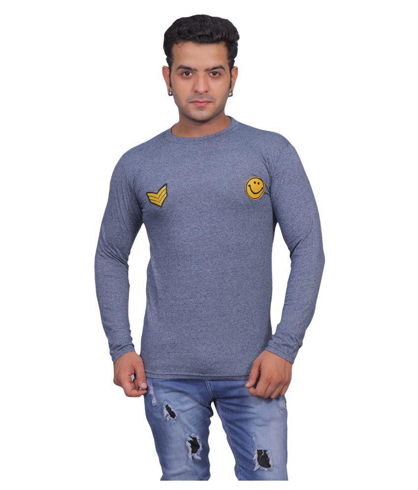 CQS Fashion 100 Percent Cotton Navy Self Design T-Shirt