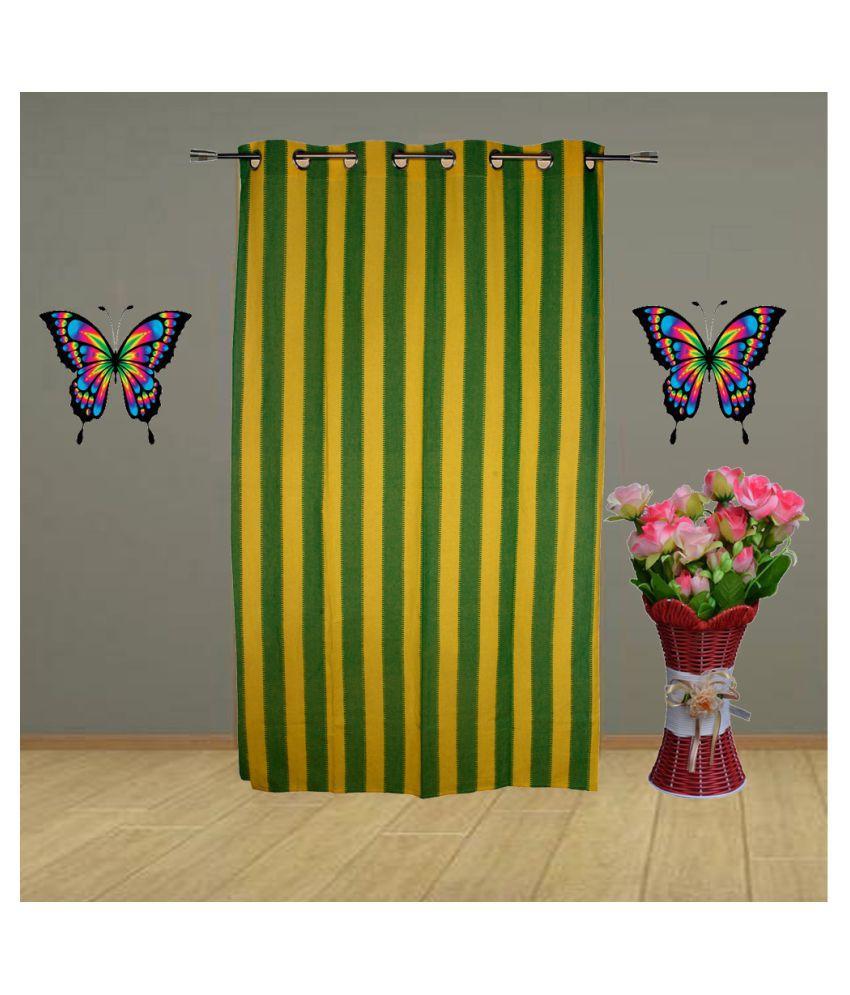 HOMEFLY Single Long Door Eyelet Cotton Curtains Green