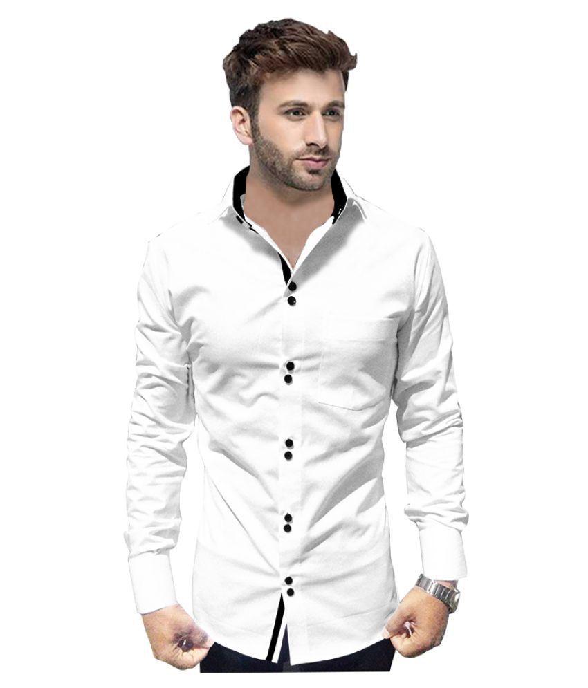 P&V 100 Percent Cotton White Solids Shirt