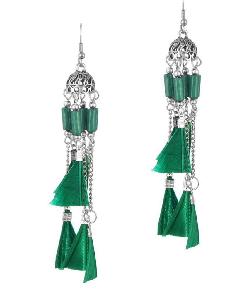 Darshini Designs daily wear green colour earrings for women and girl.