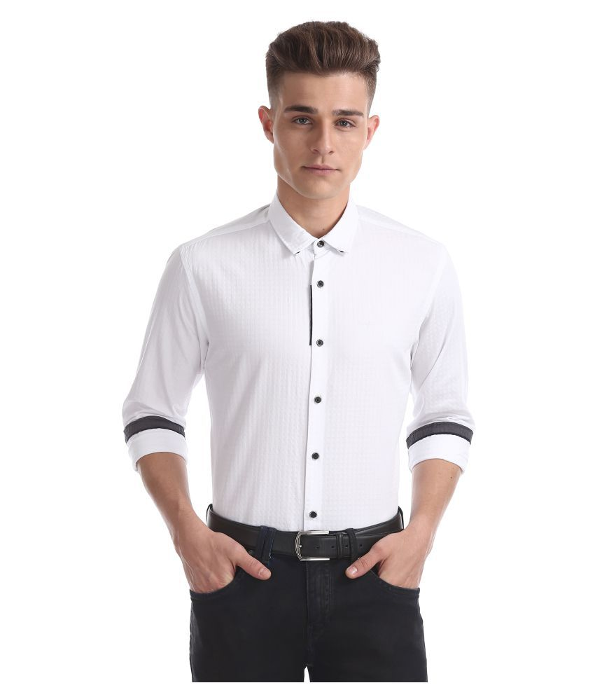 Flying Machine Cotton Blend White Solids Shirt