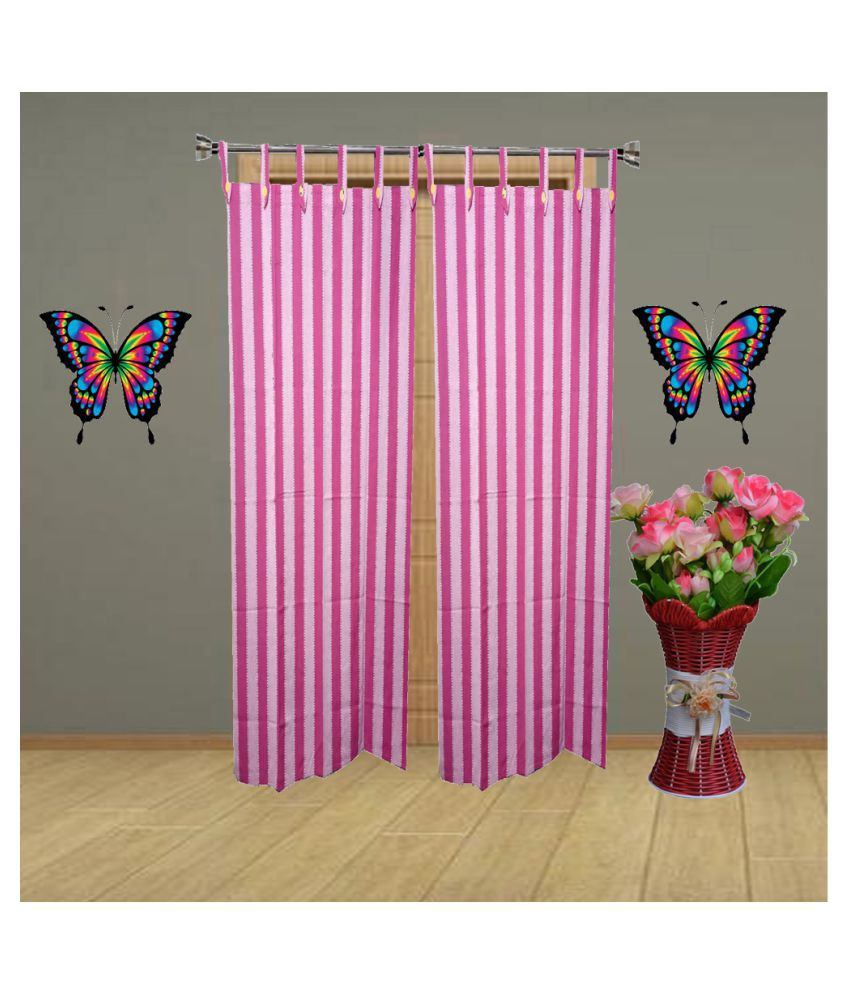 HOMEFLY Set of 2 Door Blackout Room Darkening Loop Cotton Curtains Pink