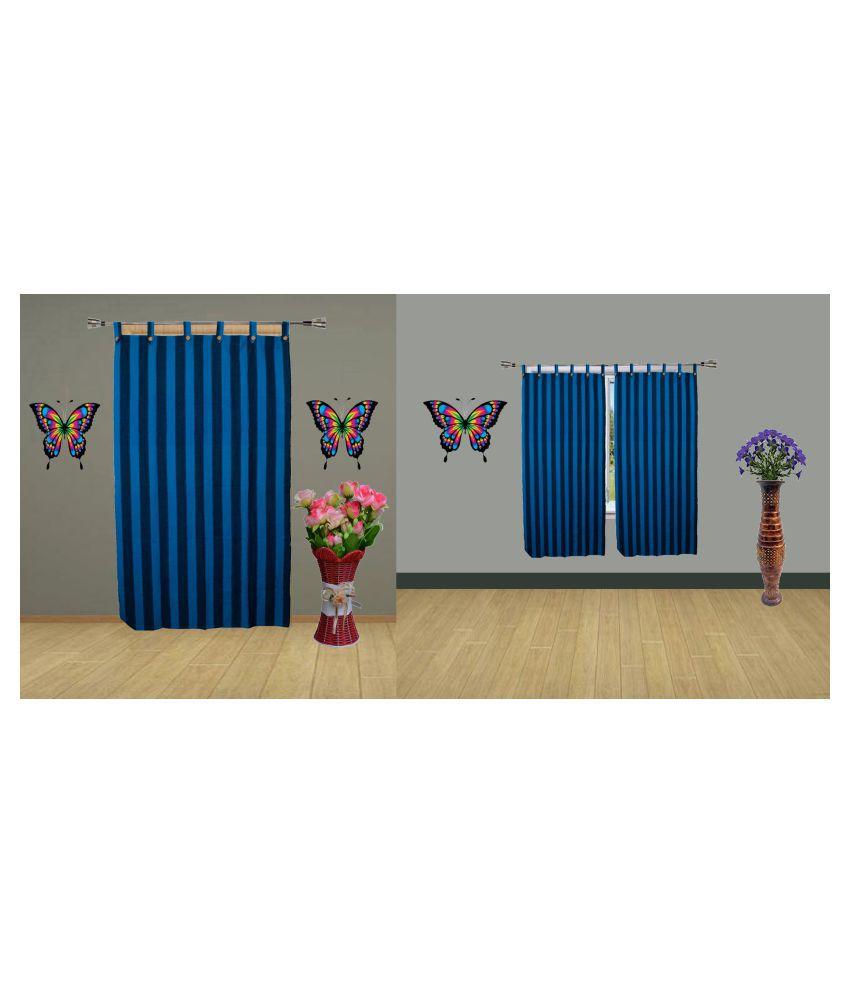HOMEFLY Set of 3 Door Blackout Room Darkening Loop Cotton Curtains Blue