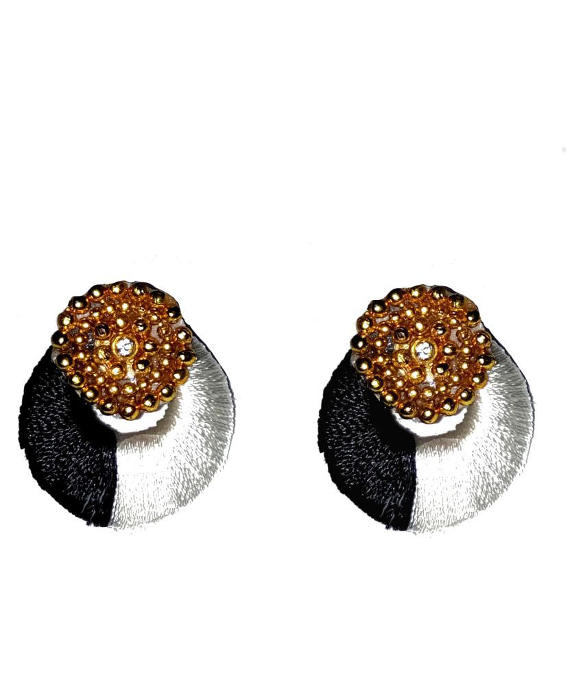 Black & white Chandbali earrings by shrungarika