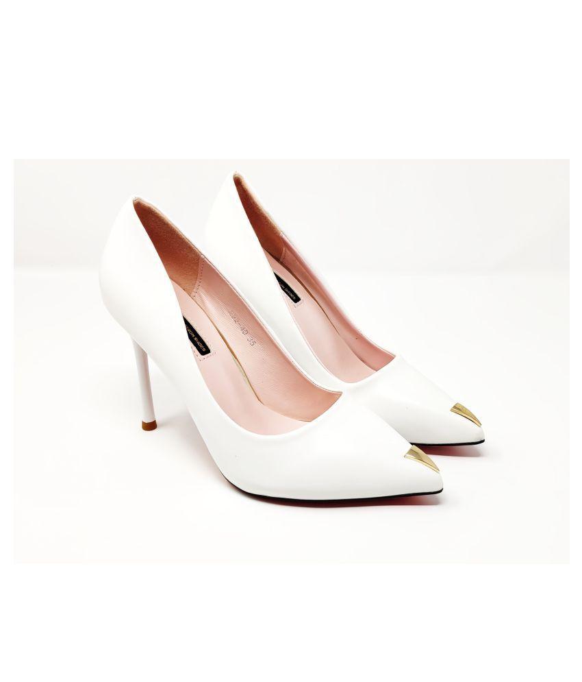 luvora White Cone Heels