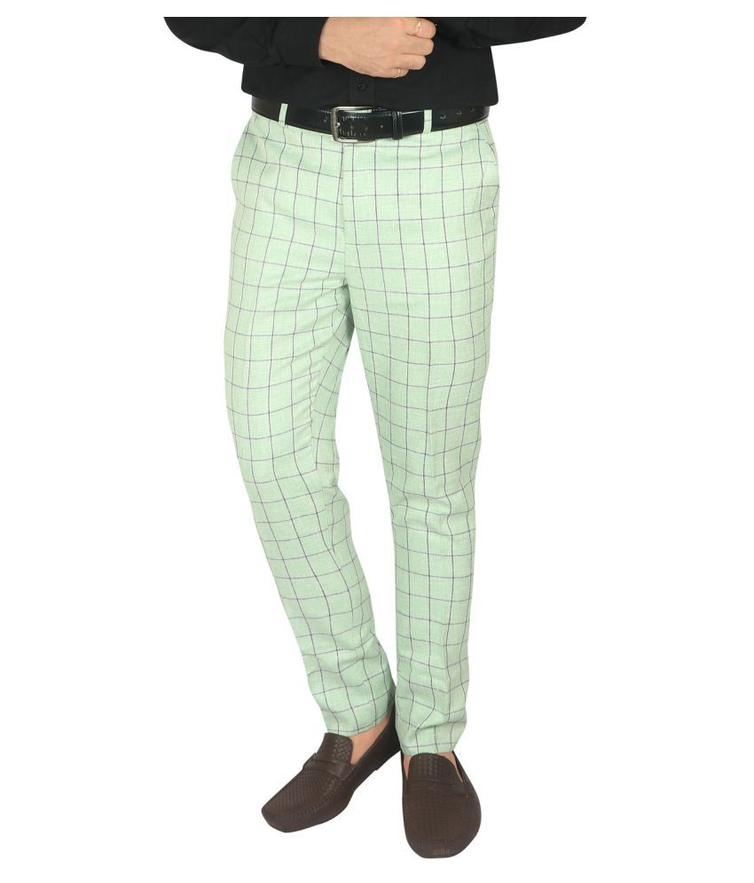 udo Light Green Slim -Fit Flat Trousers