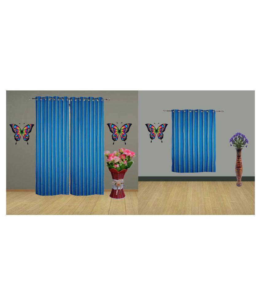 HOMEFLY Set of 3 Door Blackout Room Darkening Eyelet Cotton Curtains Blue