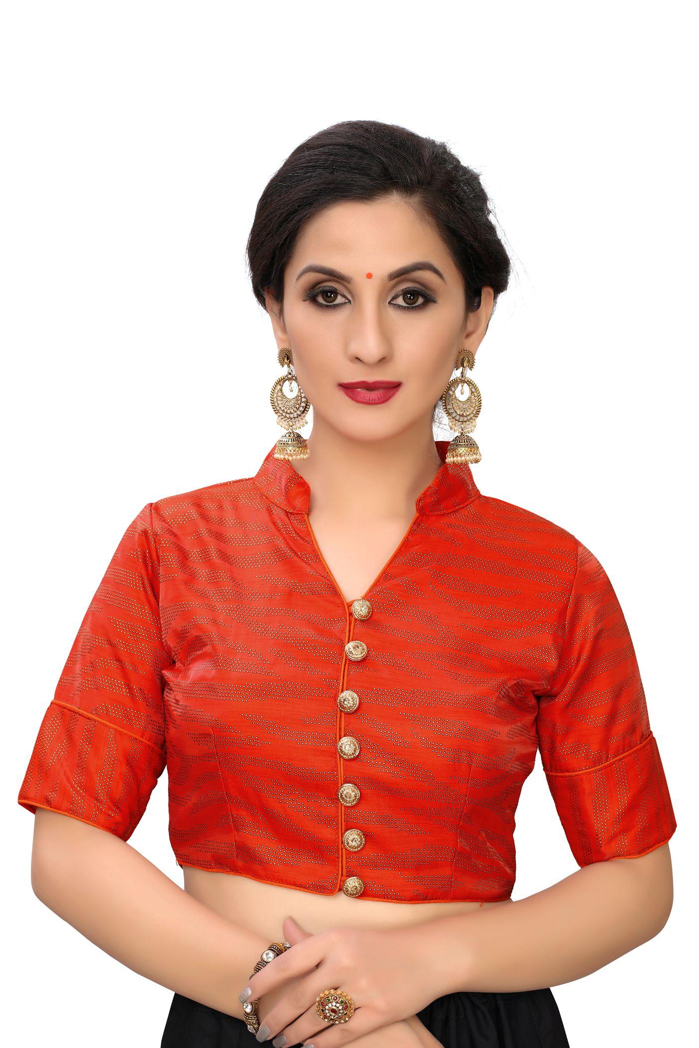 Amrutam Fab Orange Silk Readymade with Pad Blouse