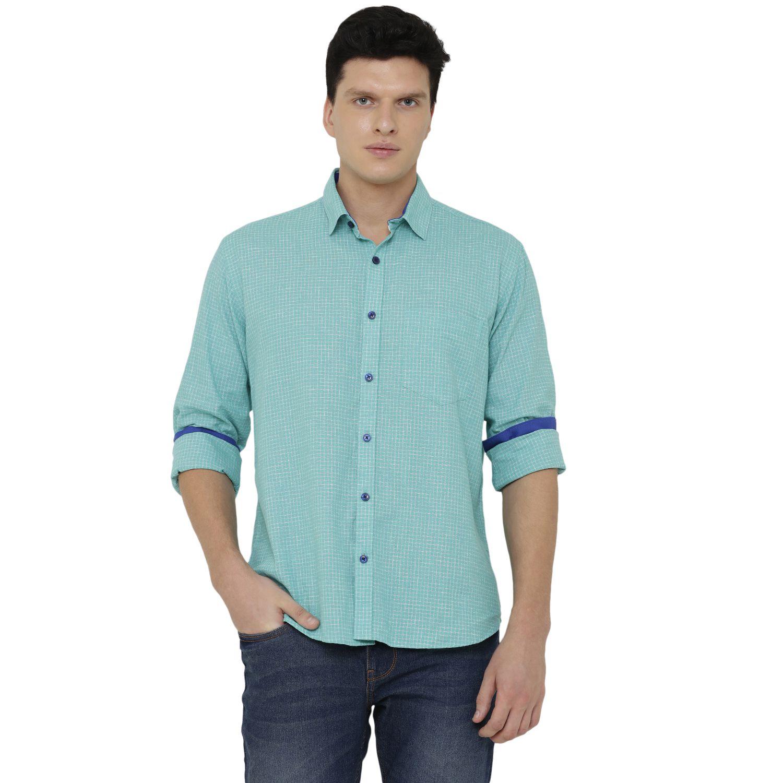 CAVALLO by Linen club Linen Green Checks Shirt