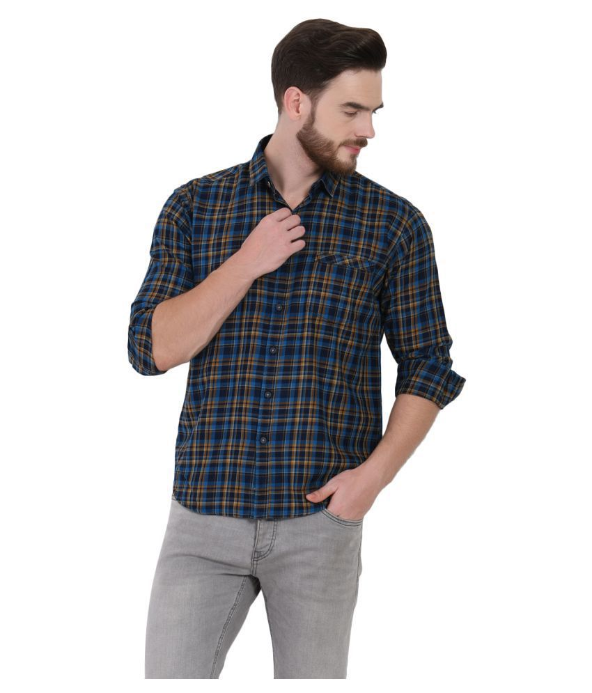 IGNU 100 Percent Cotton Blue Checks Shirt