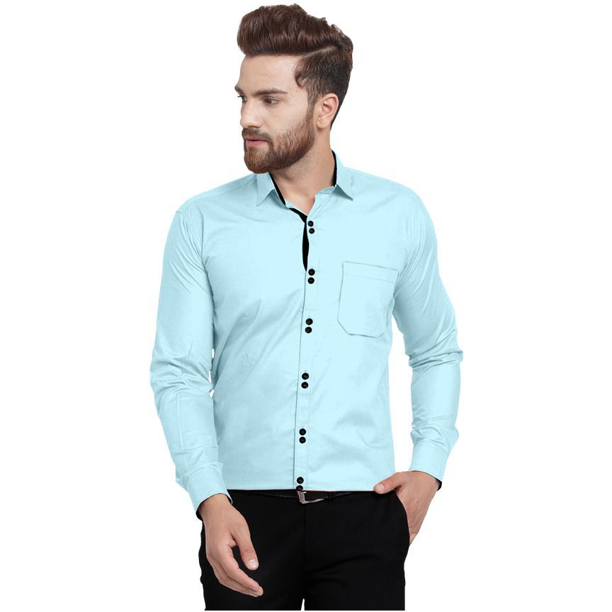 Lucas 100 Percent Cotton Blue Solids Shirt