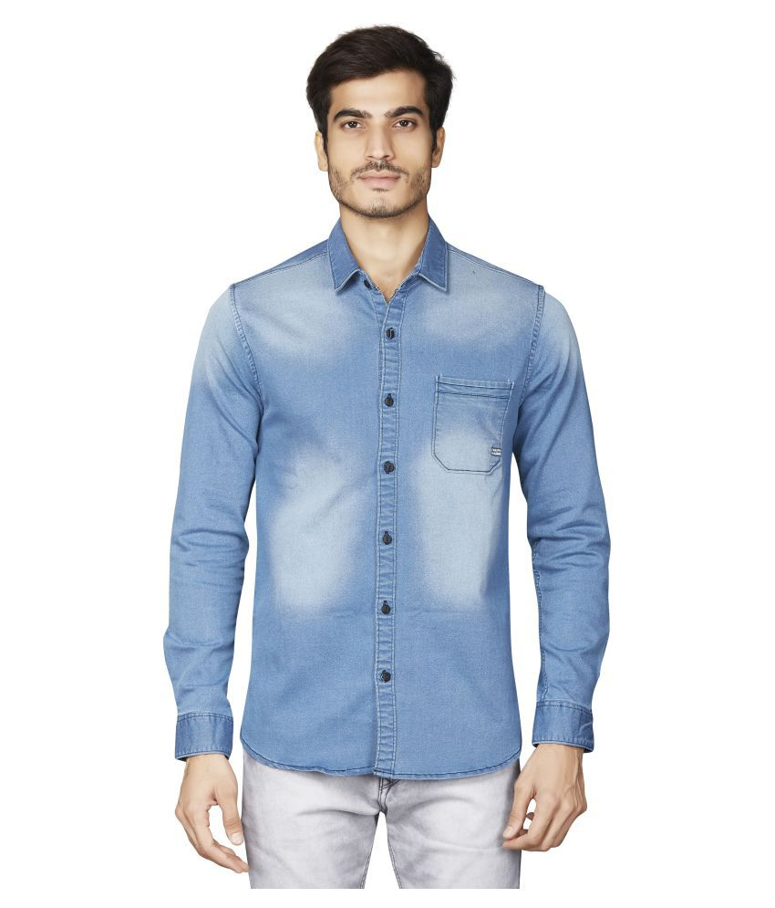 Matalino Denim Blue Solids Shirt