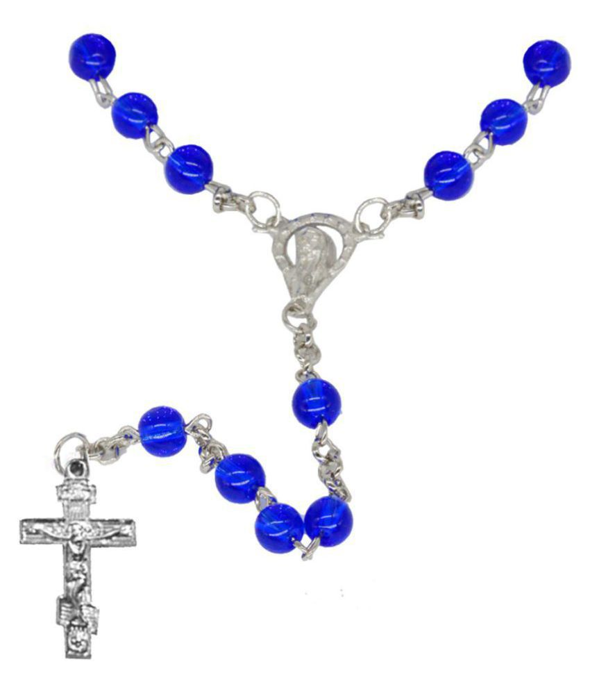 Men Style  Chrismas Special Gift Religious 6mm Bead Roasry Jesus Crucifix Cross Stainless Steel, Crystal Pendant