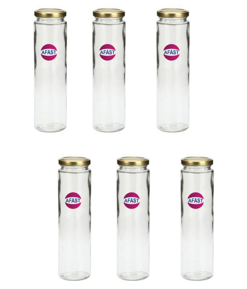 AFAST Transparent Jar Glass Oil Container/Dispenser Set of 6 400 mL