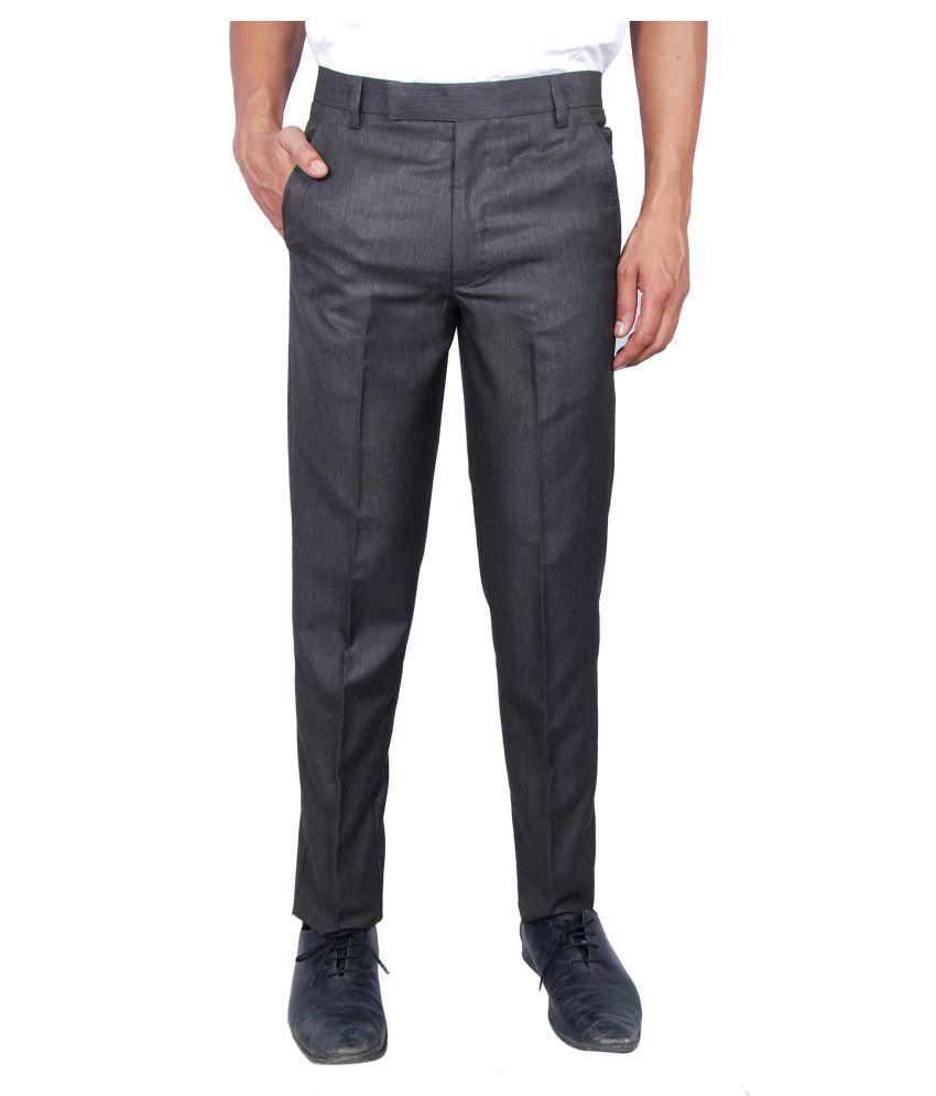 Regalior Brown Slim -Fit Flat Trousers