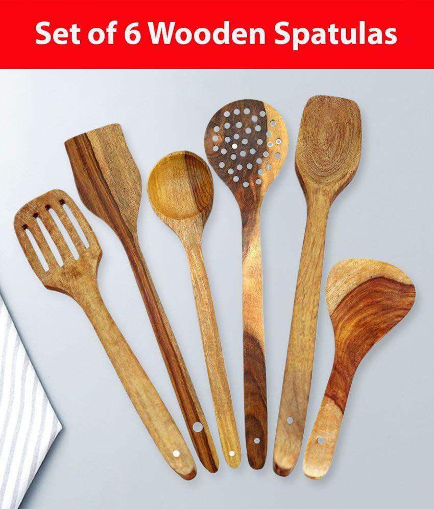 Worthy Shoppee Wood Spatula 6 Pcs