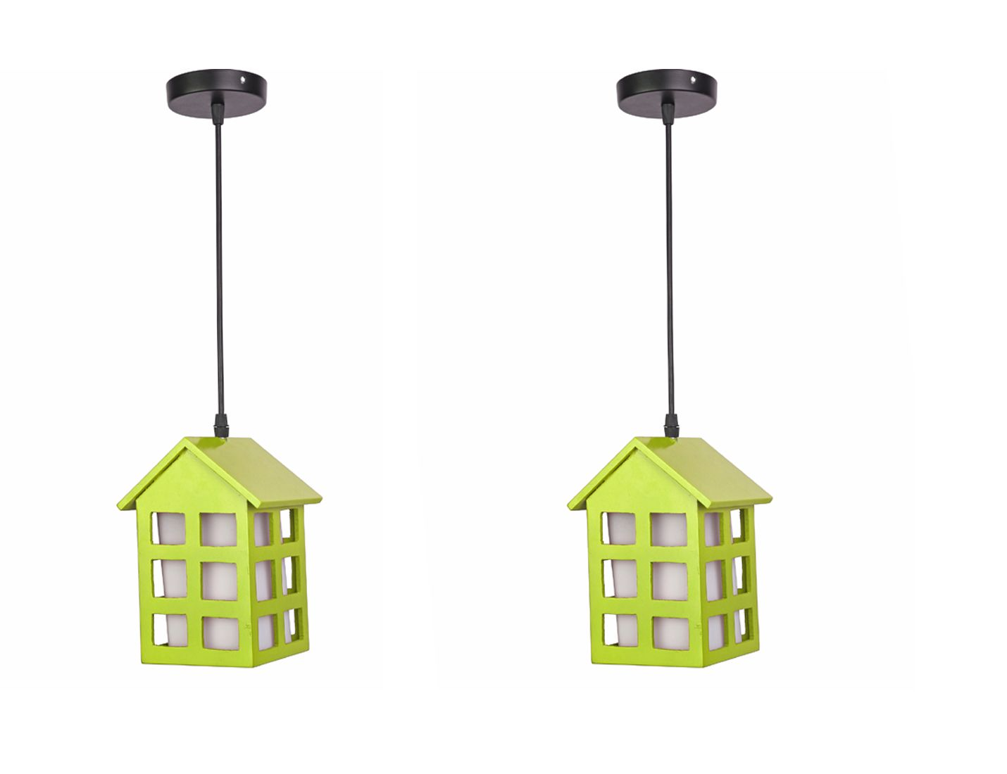 Somil Wood Hanging Lamp Pendant Green - Pack of 2