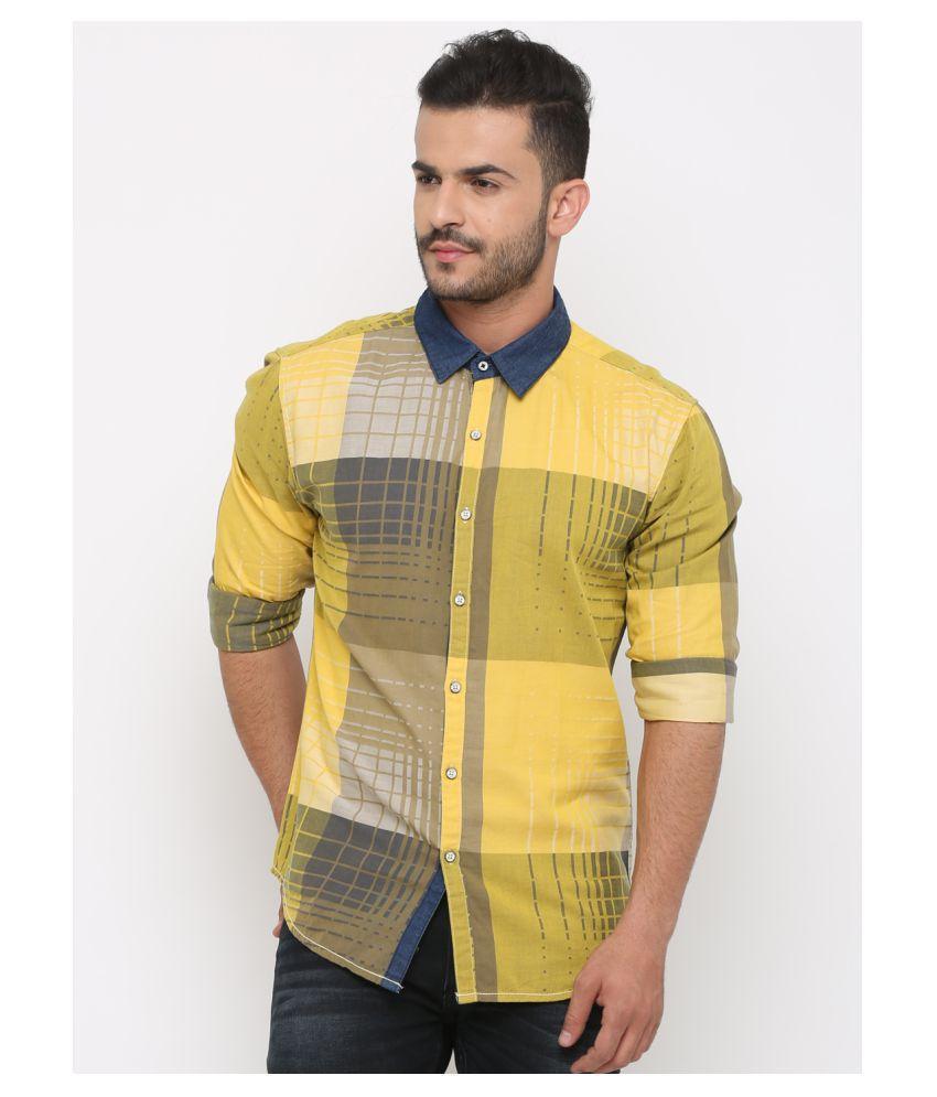Showoff 100 Percent Cotton Yellow Prints Shirt