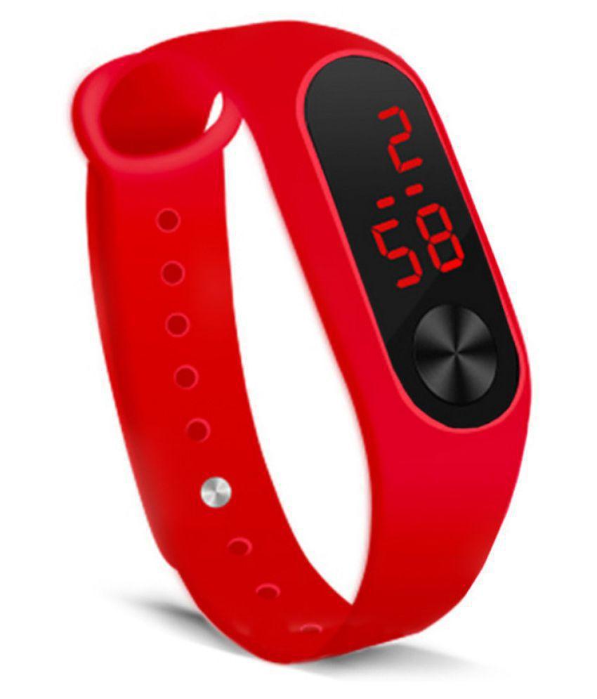 EXOMOON ENTERPRISE 5 RED LED PU Digital Men's Watch