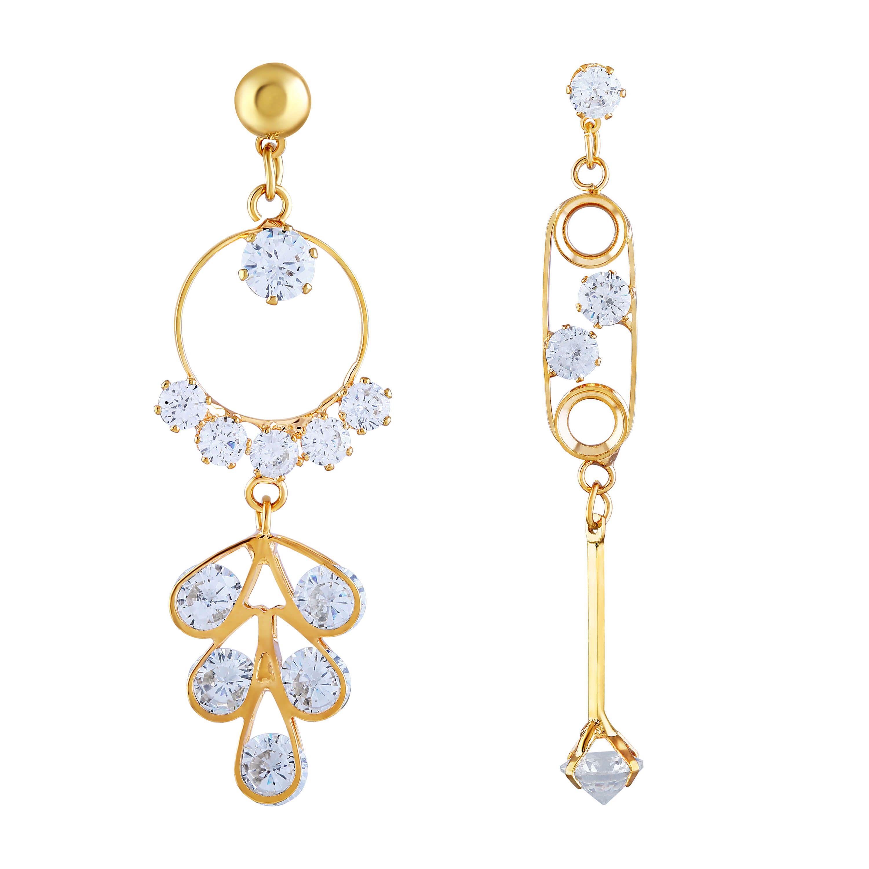 Stunning Gold-Toned Stone Enamelled Mismatch Drop Earring