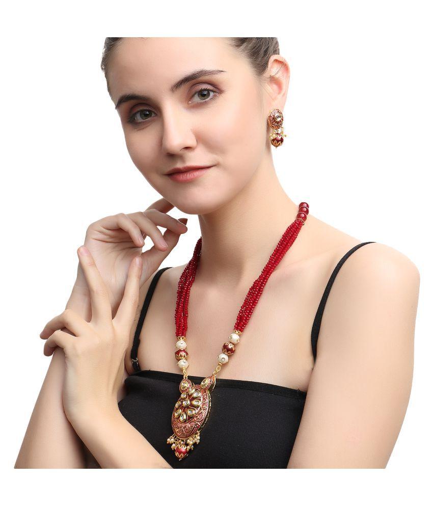 Jewels Gold Traditional Ethnic Party Wear & Wedding Unique Kundan Pendant Set For Women & Girls