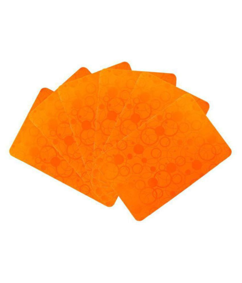 Khushi Creations Set of 6 PVC Orange Fridge Mats