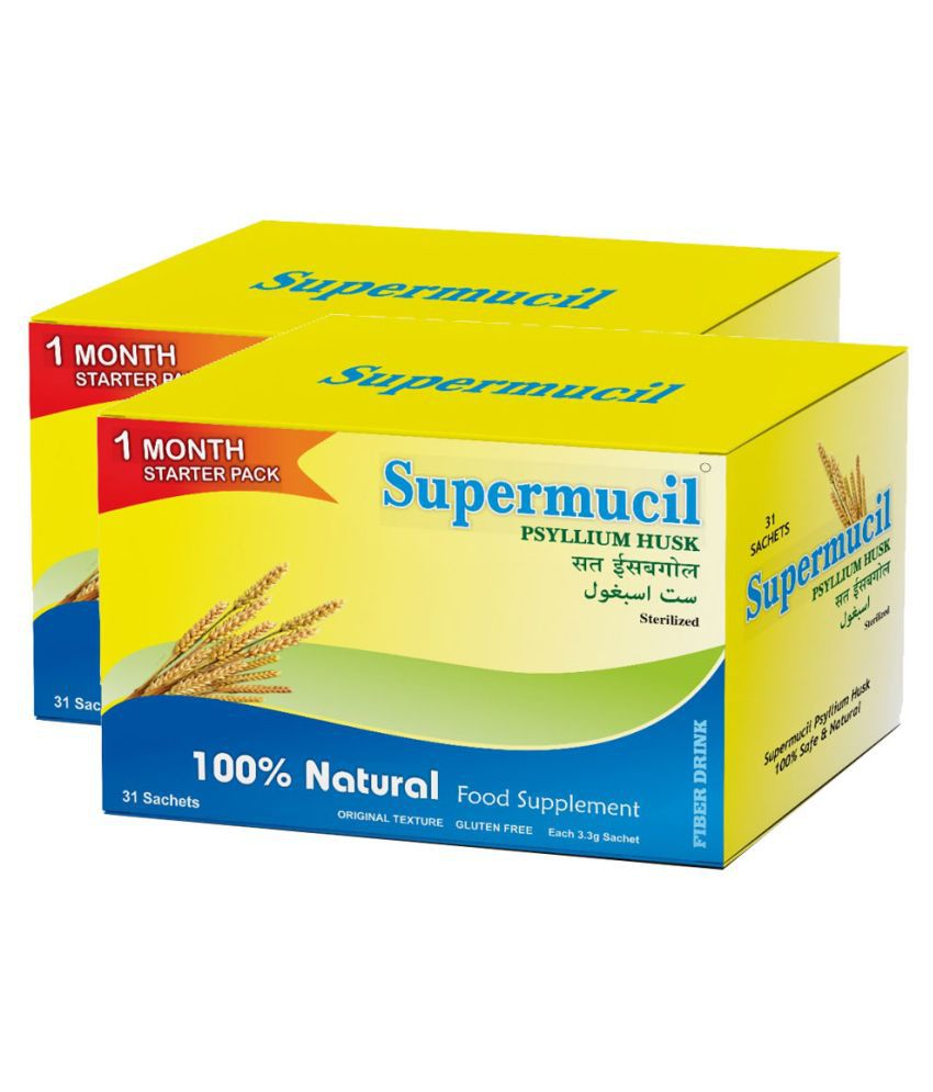 SUPERMUCIL Monthly Pack 31 Sachets of Psyllium Husk Raw Herbs 102 gm Pack Of 2
