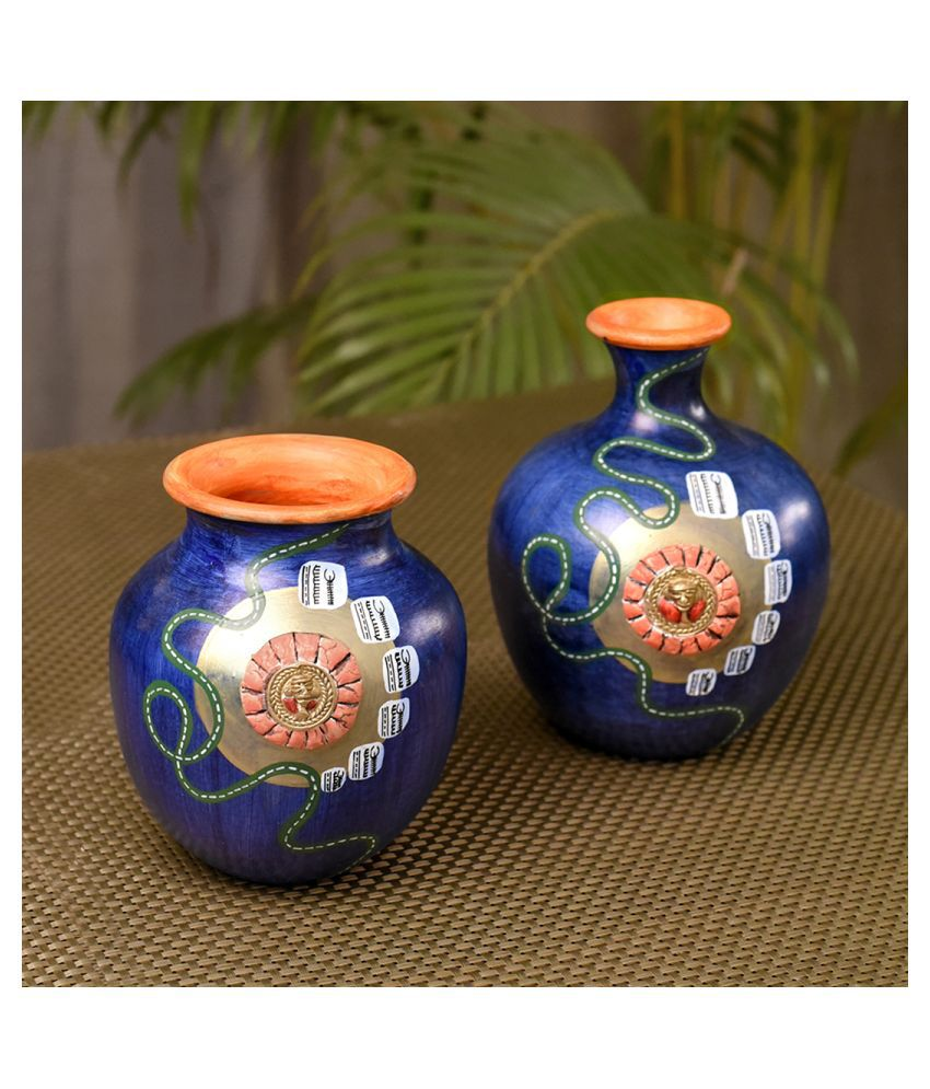 Unravel India Terracotta Table Vase 16 cms - Pack of 2