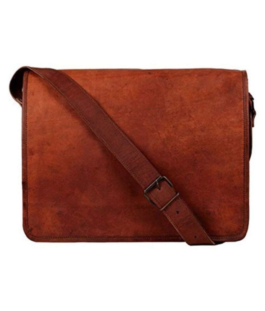 alcraft Brown Leather Casual Messenger Bag