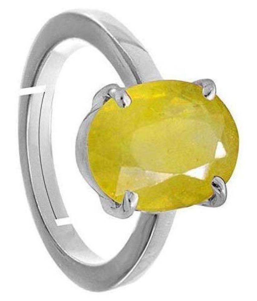 Todani Gems 11.25 Ratti Pukhraj Yellow Sapphired Silver Beautiful Pukhraj Ring With lab certified for Men and Women