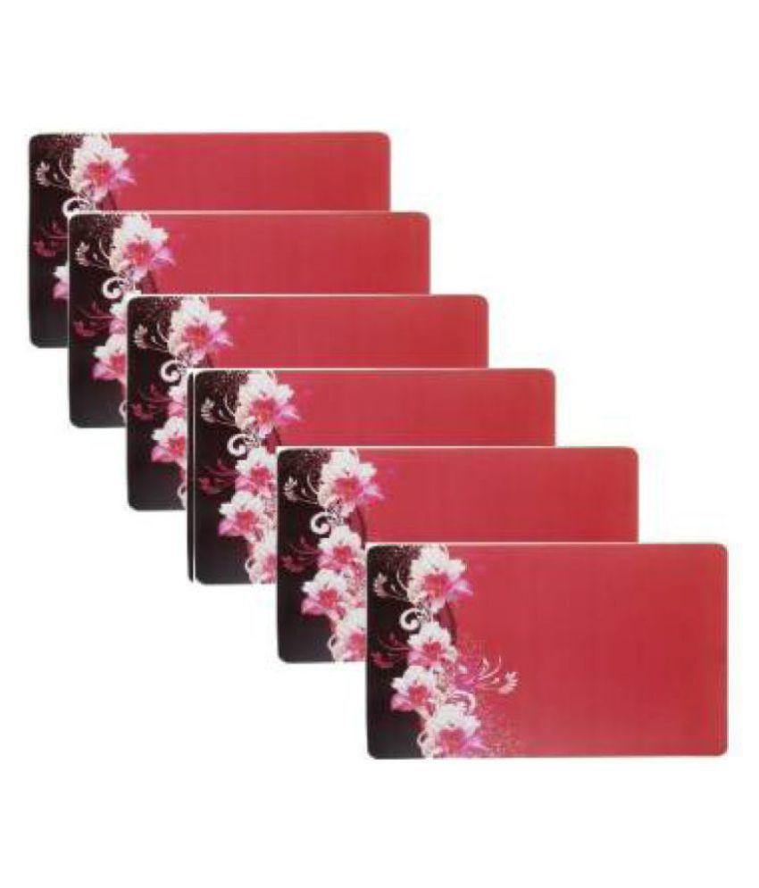 Khushi Creations Set of 6 PVC Red Fridge Mats