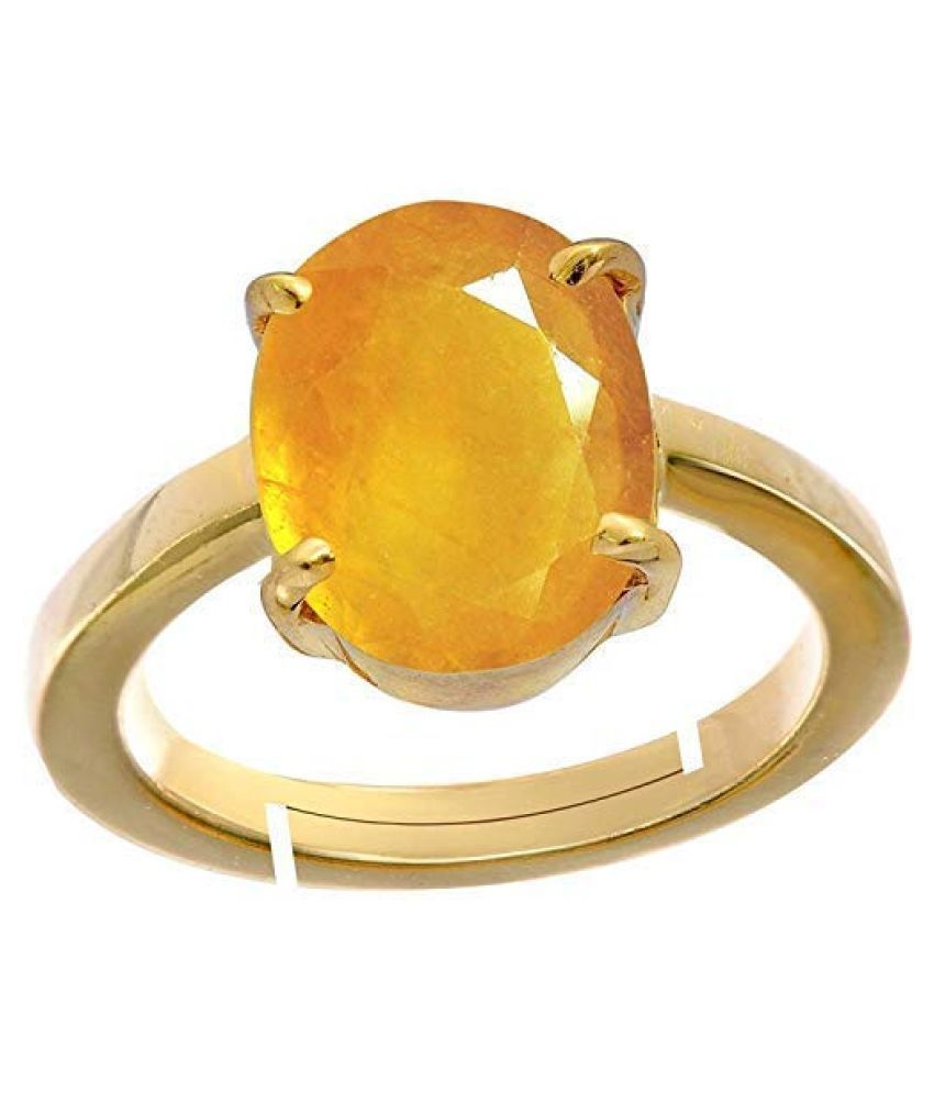 Todani Jems 4.25 Ratti 3.62 Carat A+ Quality Certified Yellow Sapphire Pukhraj Gemstone Ring For Women's and Men's