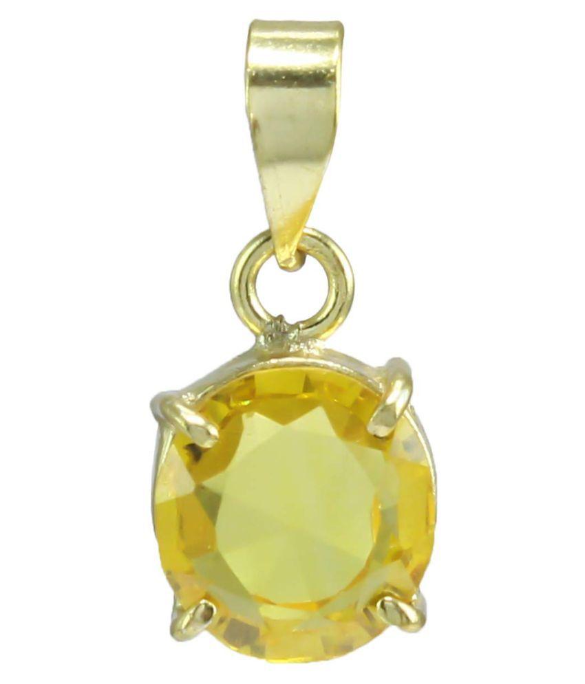 Todani Jems® 6.25  Ratti 5.62 carat Certified Yellow Sapphire Pendant/Neckles/Locket (Pukhraj Stone Ashtadhatu Pendant) AAA Quality Gemstone for Mens & Womens