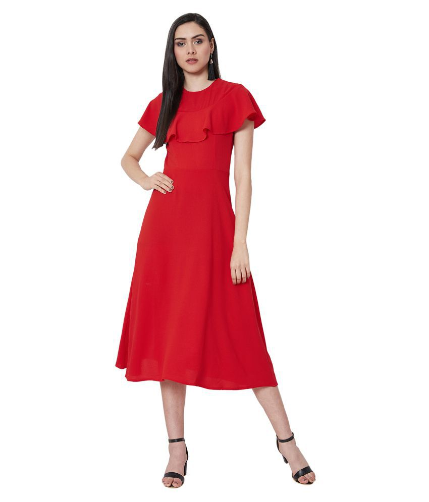 Nun Polyester Red Fit And Flare Dress