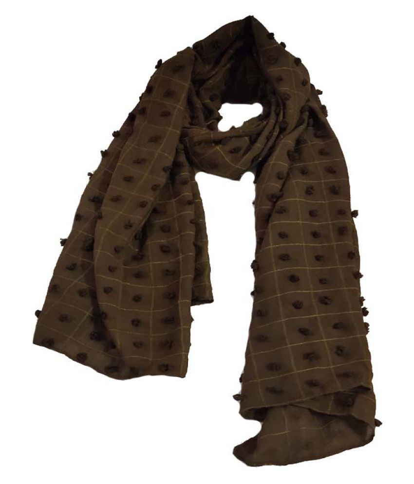ANABIA CREATIONS Brown Solid Cotton Stoles