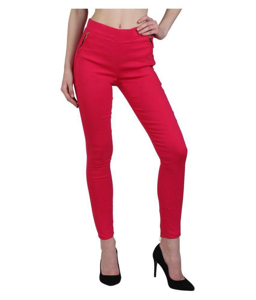 Kalakaari Cotton Lycra Jeggings - Pink