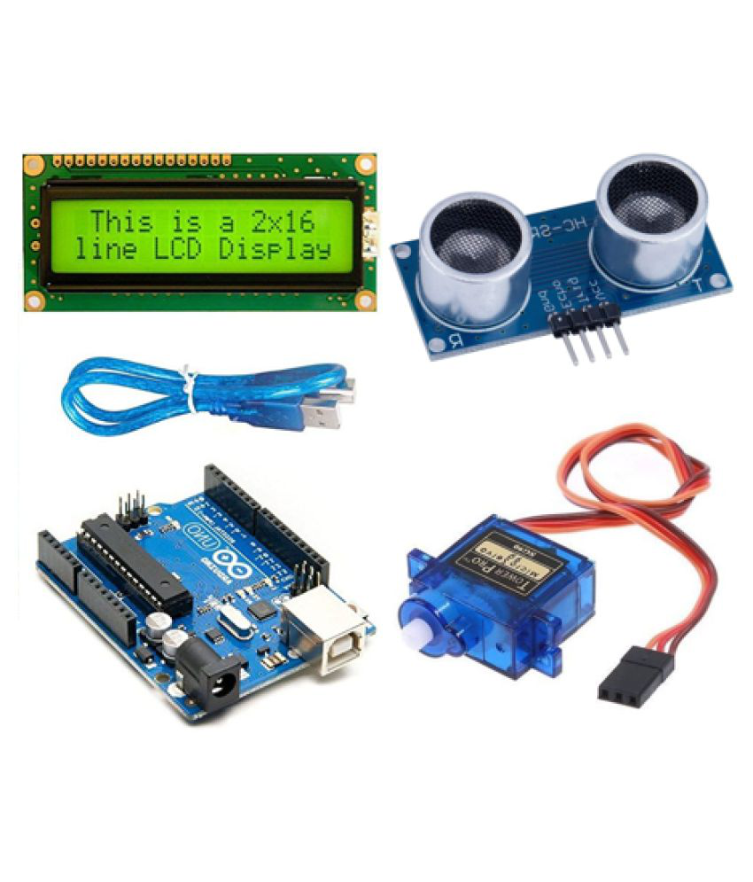 Robo Inventors for Arduino UNO with USB cabale  ,Ultrasonic sensor,Servo Motor , LCD 16x2