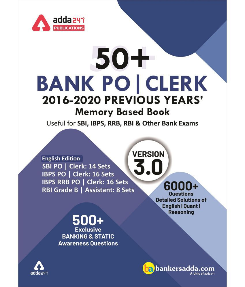 50+ Bank PO and Clerk 2016-20 Previous Years Memory Based Papers Book (English Printed Edition) by Adda247 Publications