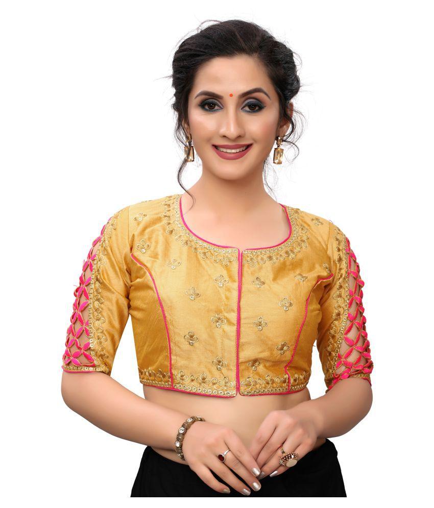 Hirvanti Fashion Yellow Satin Readymade with Pad Blouse
