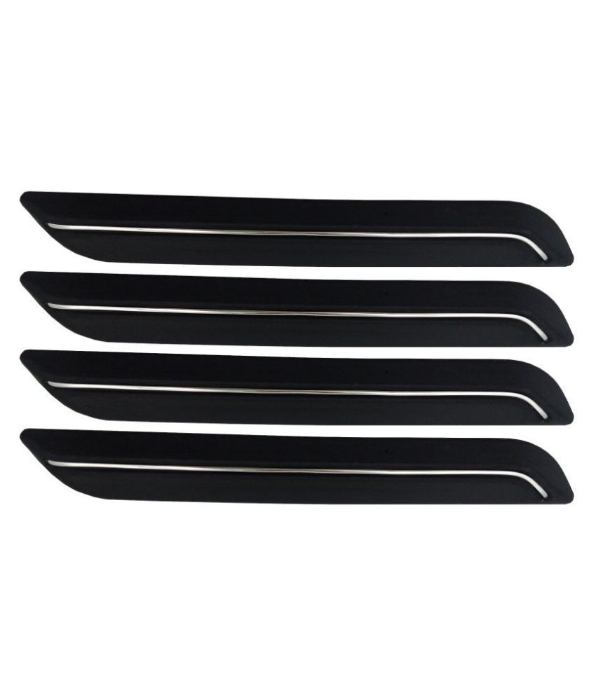 Ek Retail Shop Car Bumper Protector Guard with Single Chrome Strip (Light Weight) for Car 4 Pcs  Black for Tata Nano XE
