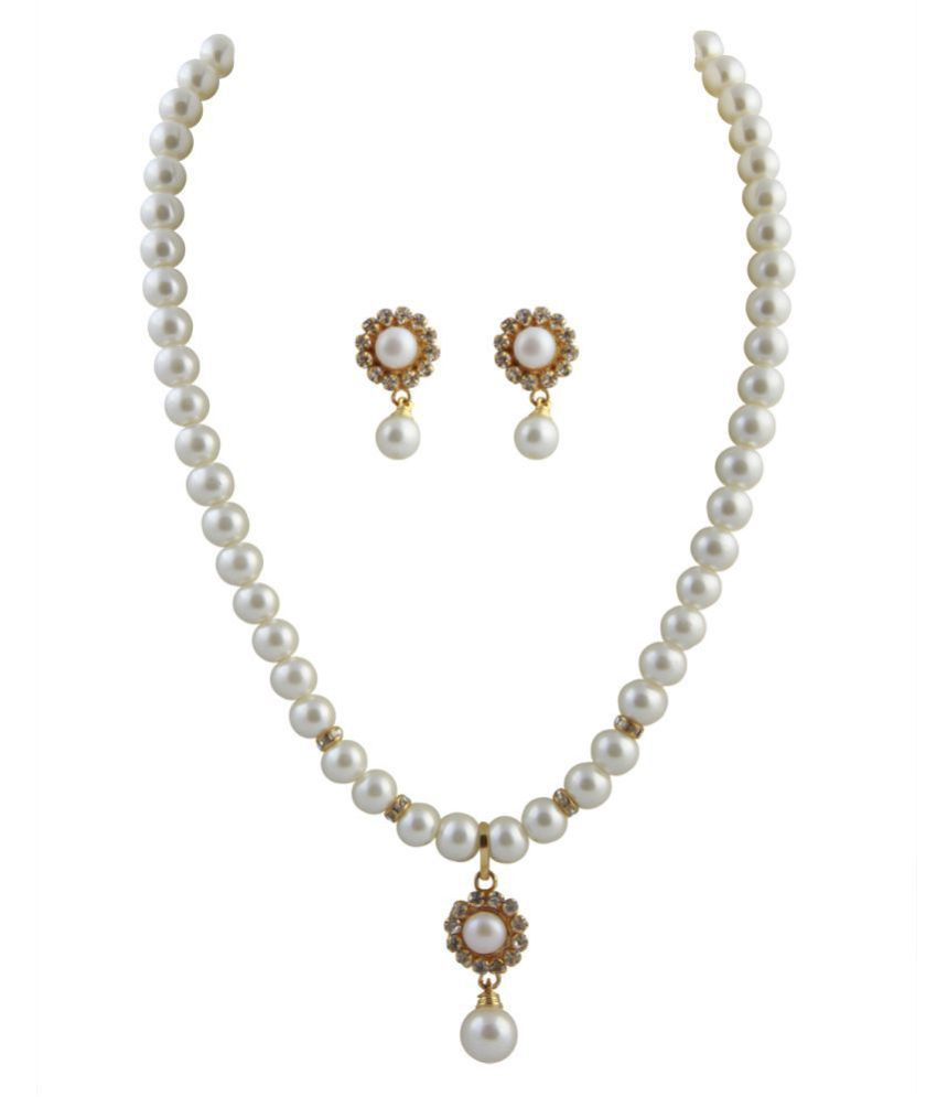 sharma pearls and jewellers Pearls White Contemporary Contemporary/Fashion Gold Plated Necklaces Set