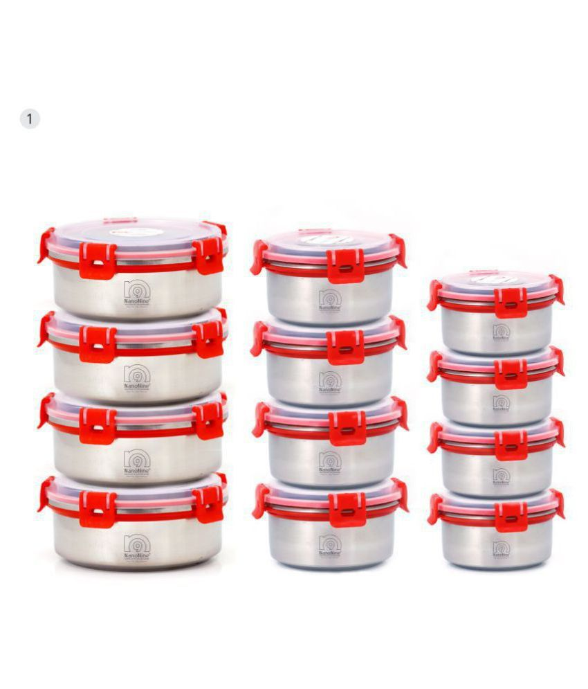 NanoNine Kitchen Fresh Steel Food Container Set of 12 5840 mL