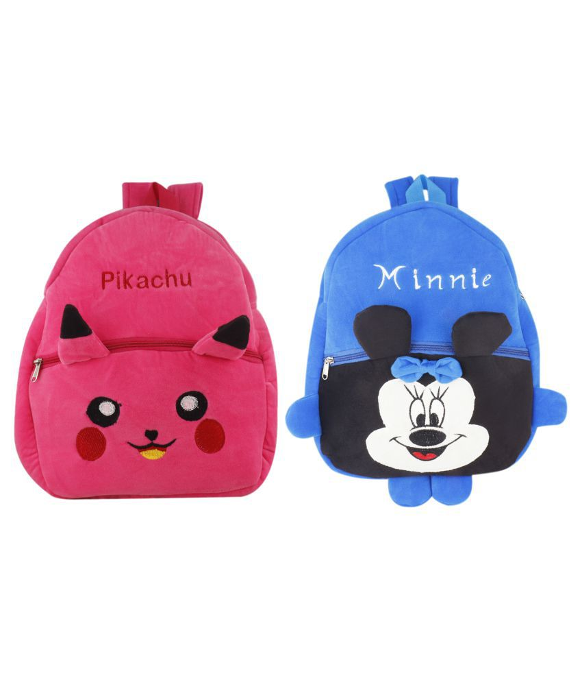 SSImpex School Nursery Picnic Carry Travelling Bag - 2 to 5 Age Minnie Pikachu (Pink, Blue) Pack of 2