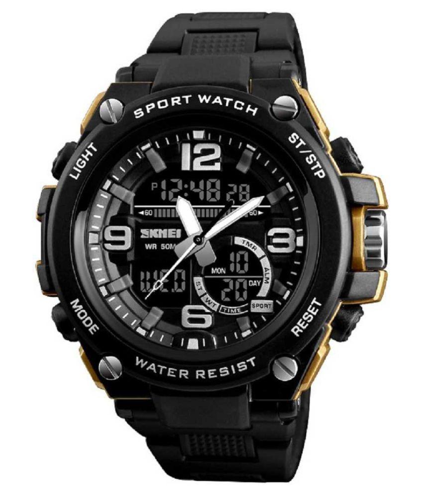 Skmei SKM 1340 GOLD BLACK Silicon Analog Digital Men #039;s Watch